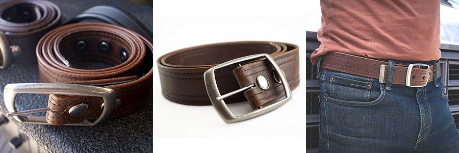 brown vintage vegan leather belt