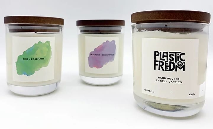 plastic freedom pine vegan candle