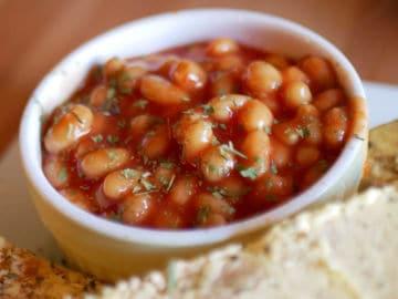 meal including homemade vegan baked beans