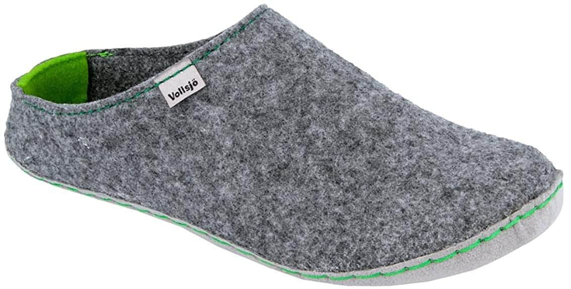 Vegan slippers in grey/green