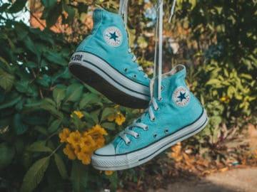 blue pair of converse