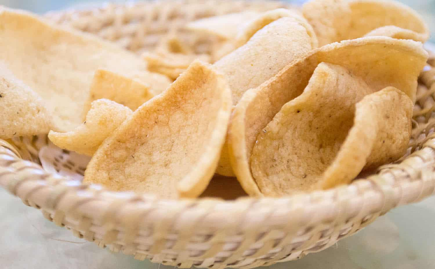 prawn crackers in a bowl