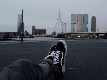 Vans vegan shoes Vans canvas looking over the city