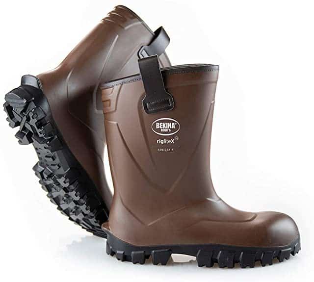 brown bekina vegan work boots