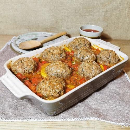 Vegan casserole with dumplings