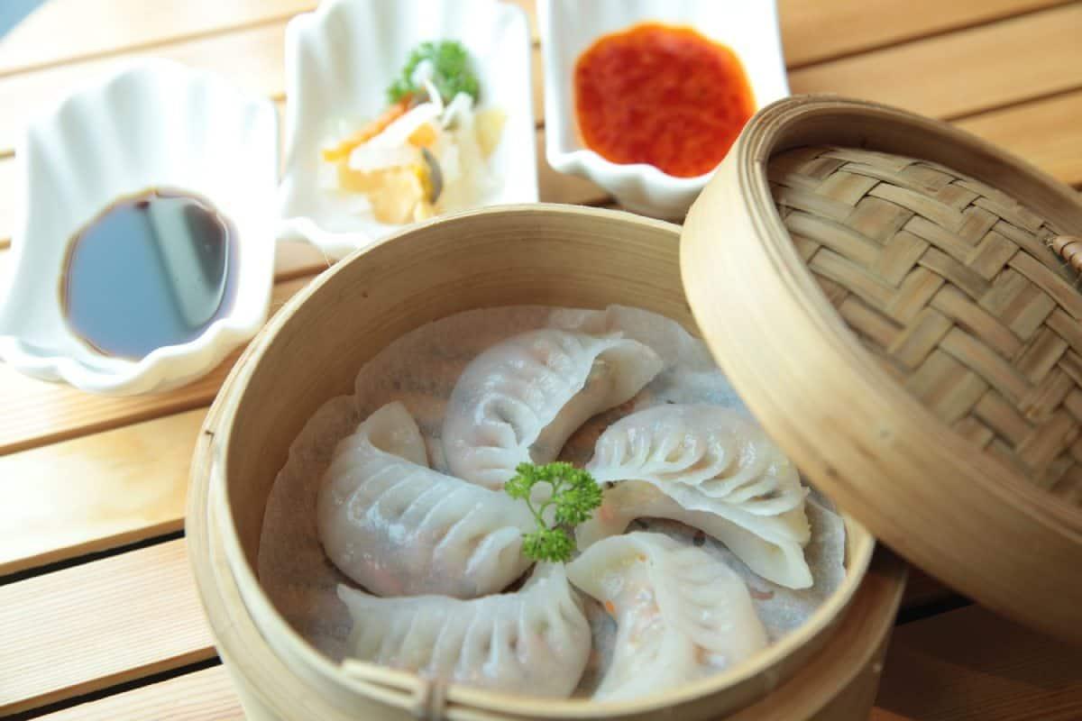 dumplings in a wooden bowl